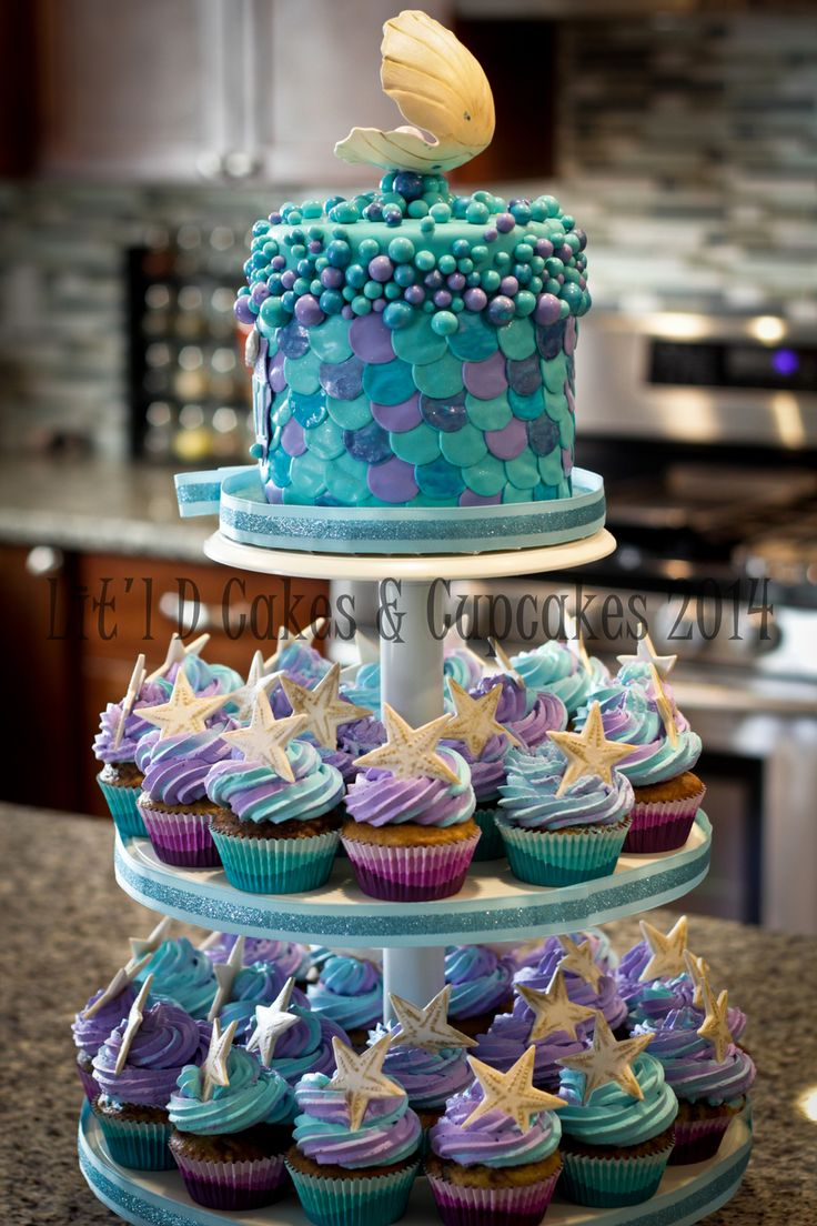 Under The Sea Cupcake Tower Recipes In 2019 Sea