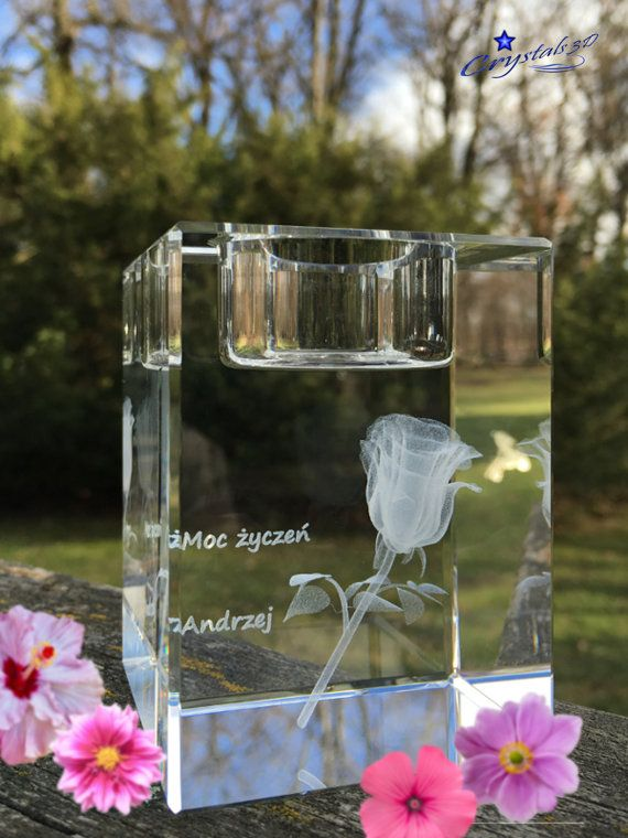 3d rose in a crystal candle holder  by Crystals3DEngraving on Etsy