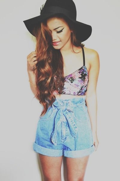 High waisted denim shorts and bralet :) ...Vintage Trends