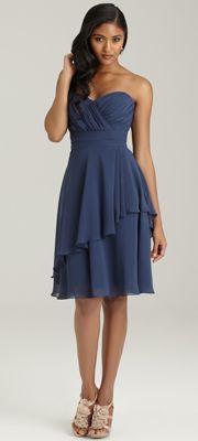 2013 Allure Bridesmaid - Sapphire Chiffon Sweetheart Short Bridesmaid Dress $172