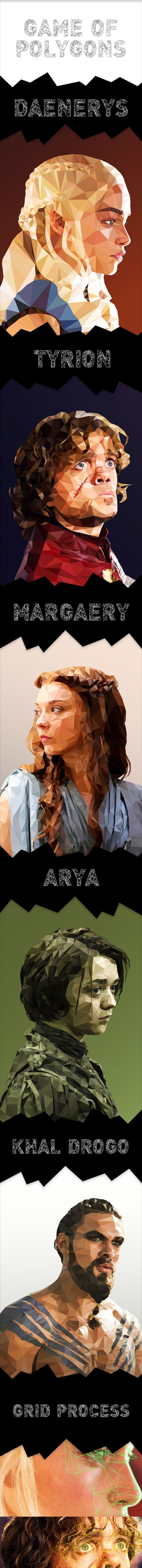 Game of Polygons - Low Poly Illustrations by Mordi Levi, via Behance
