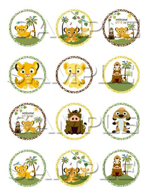 Baby Lion King Edible Cupcake Toppers on Etsy, $6.00