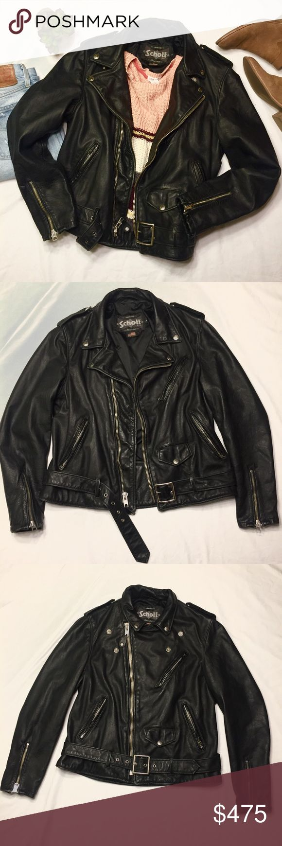 """Authentic Schott N.Y.C Boyfriend Moto Jacket This Authentic Schott N.Y.C. Vintaged cowhide """"boyfriend"""" fit jacket is currently for sale at Nordstrom for $760. Beautiful, supple leather and on trend boyfriend fit makes this THE jacket for 2017-18. This is the classic moto jacket that never wears out or goes out of style! This jacket runs small, so may fit a medium (see measurements). EUC! See pics for minor wear!   https://m.shop.nordstrom.com/s/schott-nyc-boyfriend-leather-jacket/4647674…"""