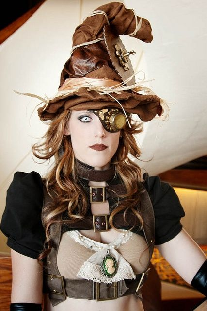 Steampunk Witch Costume - witches hat, harness, eyepatch/monocle/goggles, gloves, cameo pin/pendant/necklace/brooch