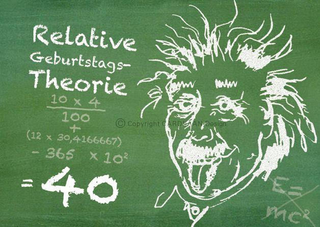 Einladungskarten - Einladung 40. Geburtstag (Einstein Tafel) - ein Designerstück von CARDLAAN bei DaWanda