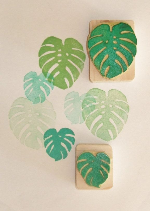 Monstera Deliciosa leaves Hand carved rubber stamp.