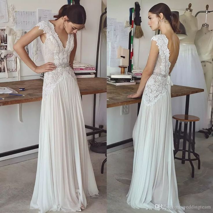 2017 Lihi Hod Bohemian Lace Wedding Dresses Deep V Neck A Line Backless Beach Wedding Dress Floor Length Beaded Chiffon Boho Bridal Gowns Beach Wedding Dresses Wedding Dresses Cheap Plus Size Wedding Dresses Online with $179.43/Piece on Weddingteam's Store | DHgate.com