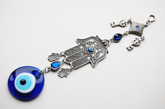 Hamsa Hand and Key Wall Hanging Amulet Handmade Turkish Silver Plated Evil Eye Bead