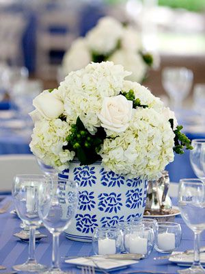 White Flowers and White and Blue Vase Centerpiece #wedding