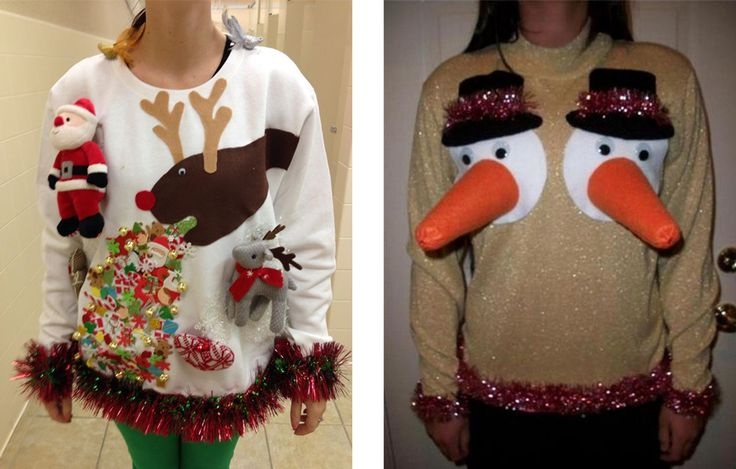 Really ugly Christmas sweaters. But hilarious!