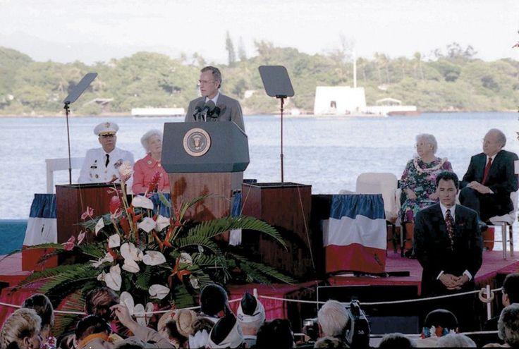 President George H. W. Bush speaks at the dedication of the USS Arizona National Memorial at Pearl Harbor in December 1991.
