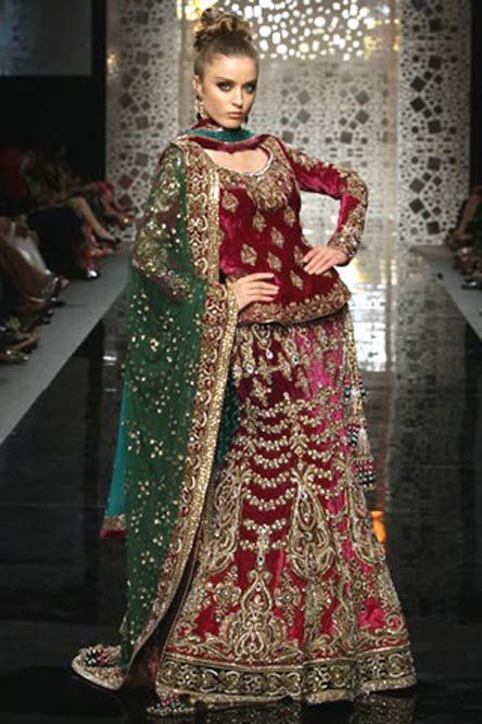 Latest Pakistani Indian Fashion 2012 ? Red Bridal Wear Lehnga for barat BC 23