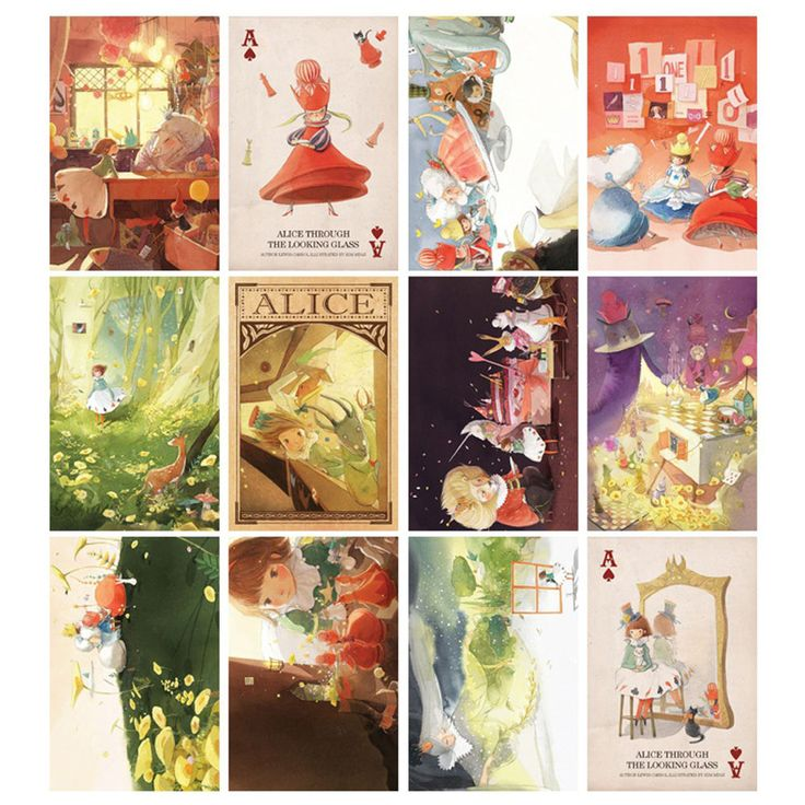 "Alice Illustration Postcard Book 3.9"" x 5.9"" 12 Postcard & 5 Envelope Fairy Tale"