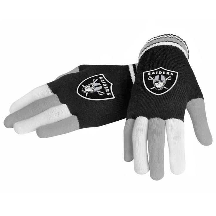 Football NFL Team Oakland Raiders Knit Gloves, Black, One Size Super Bowl 2018 #ForeverCollectibles #OaklandRaiders