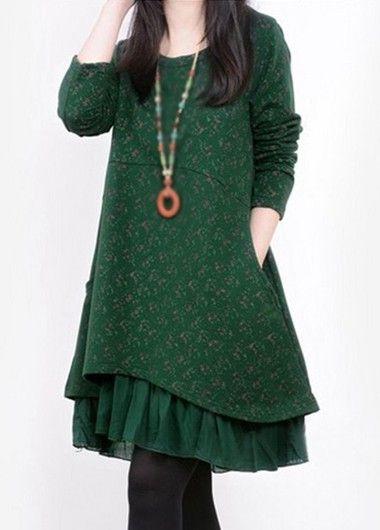 Autumn Winter Dark Green Long Sleeve Swing Tunic Dress