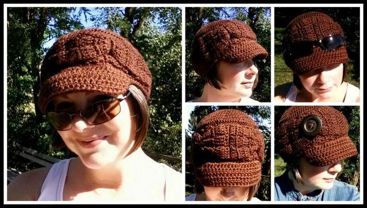 Crocheted Xanadu Cadet Hat (with or without button), order at www.facebook.com/kaleidoscopeartngifts Pattern by www.facebook.com/SickLilMonkeys