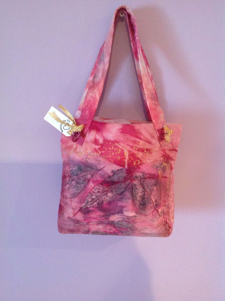 Hand bag, hand dyed and printed fabric, hand made buttons. Kay Horne