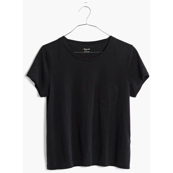 MADEWELL Radio Tee ($30) ❤ liked on Polyvore featuring tops, t-shirts, true black, retro tees, pima cotton t shirts, fitted tee, madewell tee and madewell