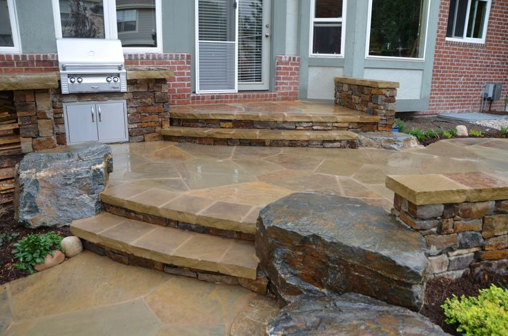 Flagstone Patio With Stairs My Dream Home Pinterest