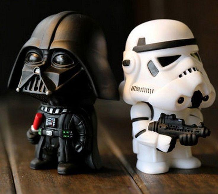 2Pcs Star Wars Toy Figures Black Knight Darth Vader Stormtrooper PVC Action Doll #Unbranded