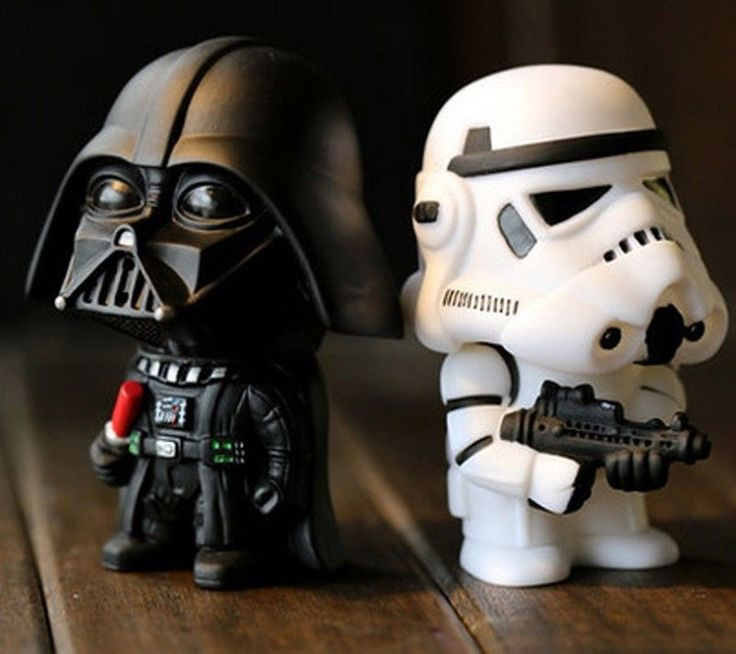 2Pcs Star Wars Toy Figures Black Knight Darth Vader Stormtrooper PVC Action Doll #Unbranded