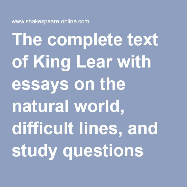 nothing king lear essay