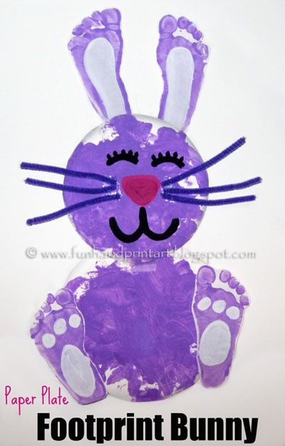 10 Fun Easter Craft Ideas For Kids - 2 Wired 2 Tired  footprint bunny....could use BOTH their feet