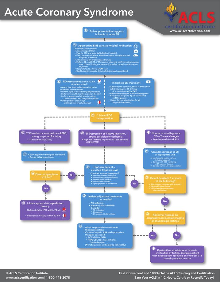 New ACS (Acute Coronary Syndrome) Algorithm from the ACLS Cerification Institute. A printable PDF download link is available at http://www.aclscertification.com/free-learning-center/acls-algorithms/acute-coronary-syndromes-algorithm. #ACLScertification #algorithm