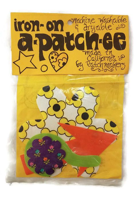 Vintage Hippy Iron-On A-Patch-EE by California Patch Makers 4 Patches USA Made #CaliforniaPatchMakers