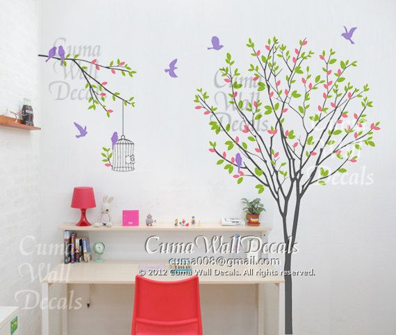 Tree Wall Decal Birds Birdcage Wall Decals Nursery Wall By Cuma Wall Decals