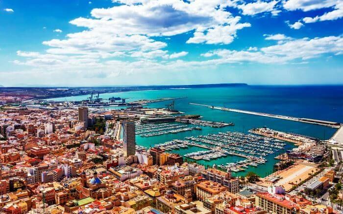 A panoramic view of Alicante in Spain