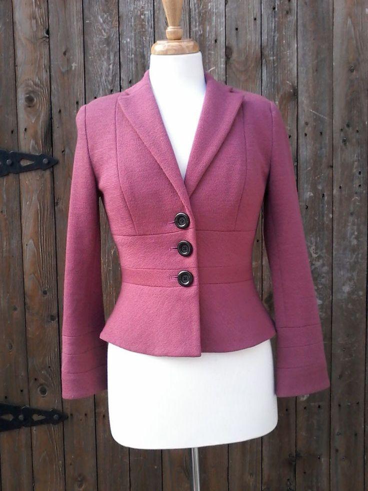 Kay Unger New York Women's Size 2 Maeve 3 Button 100% Wool Blazer Jacket…