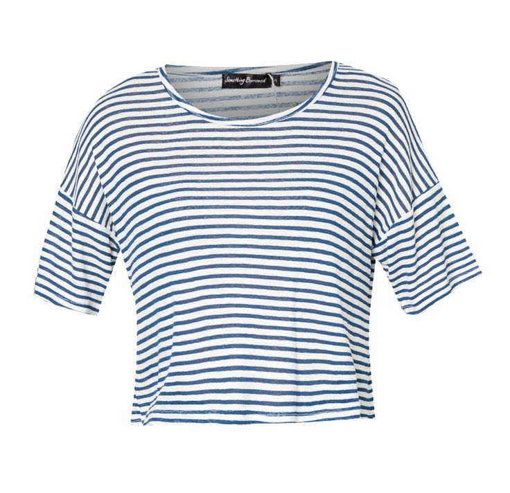 Jersey Striped Top by Something Borrowed. Top with strip pattern, round neck, short sleeves, stretchable, relaxed fit. Strip top that can go with short, jeans and skirt, sandals to sneakers, this t-shirt will Perfectly match.  http://www.zocko.com/z/JFbc4