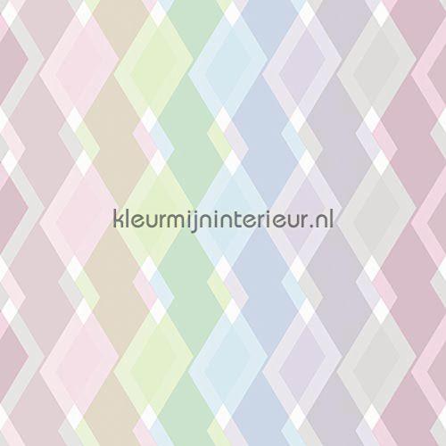 Mix ruiten kleurrijk pastel behang JW3746, Mix and Match van Behang Expresse