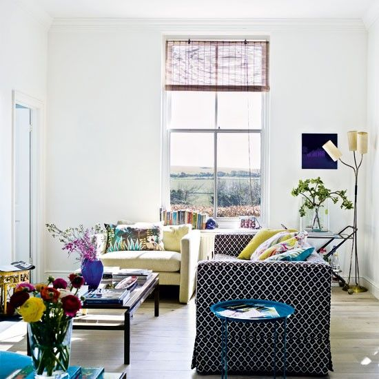Image Via: A Beautiful LivingHouse Tours, Wall Pattern, White Living, Beautiful Living, Living Room, Pattern Sofas, White Wall, Dreams Interiors, Bright Living