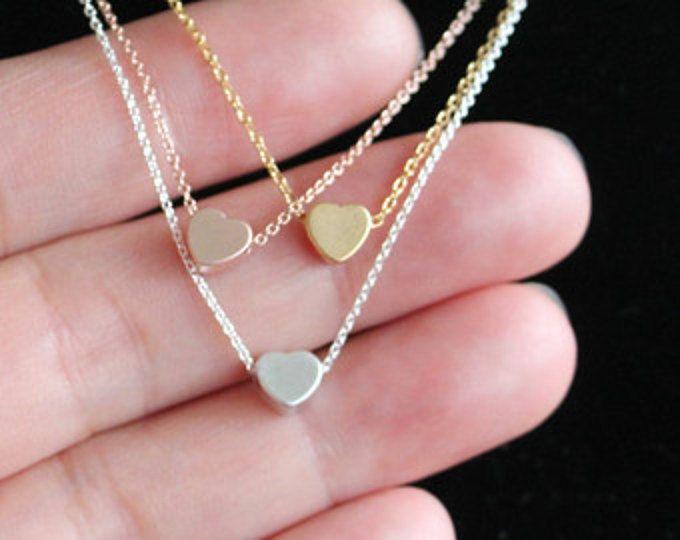 Collar de corazón pequeño, pequeño oro o plata o rosa corazón collar de oro, minimalista, boda, envío rápido