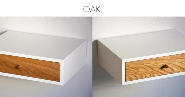 """6 kedvelés, 1 hozzászólás – MyBetterShelf (@mybettershelf) Instagram-hozzászólása: """"Solid oak on our floating nightstands www.mybettershelf.com #oak #wood #shelf #drawer #etsy #custom…"""""""