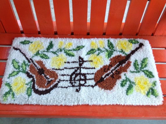 Kitschy Guitar rug or wall hanging latch hook in  by VintagePickin, $22.00