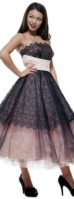 Authentic Vintage 1950's Black & Light Pink Tulle & Taffeta Strapless Empire Waist Party Dress - Size 2