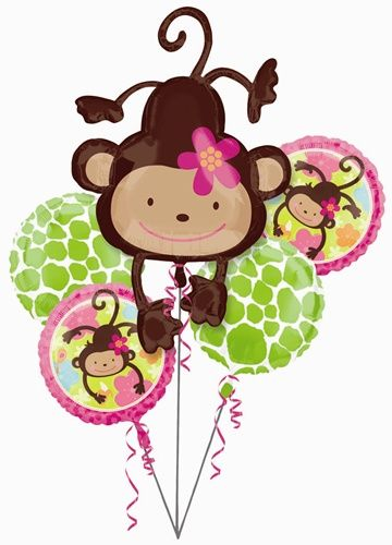 Drive everyone wild at your party with our Monkey Love Foil Balloon Bouquet!  Our big bouquet of balloons features one jumbo sized 40� x 26� Mylar balloon of an adorable brown monkey hanging from her tail and sporting a pretty pink flower in her hair.  Two 18� Mylar balloons feature an apple green and white animal print design, while two 18� Mylar balloons feature hot pink and apple green colors with bright flowers in pink, blue and orange with an image of the adorable monkey that is…