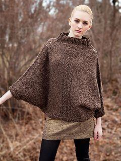 free knitting pattern one piece poncho batwing sweater pullover needle 3.75-4.5mm gauge 18st 25r (10cm)