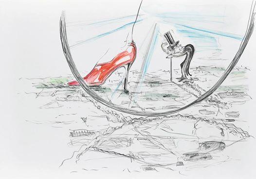 Sneak peek_07: Wolfgang Neumann, 2014 Bleistift und Aquarellstift auf Papier Pencil and watercolor pencil on paper, 30 x 42 cm In: Aras Ören, Kopfstand, Seite 58_59 / page 58_59