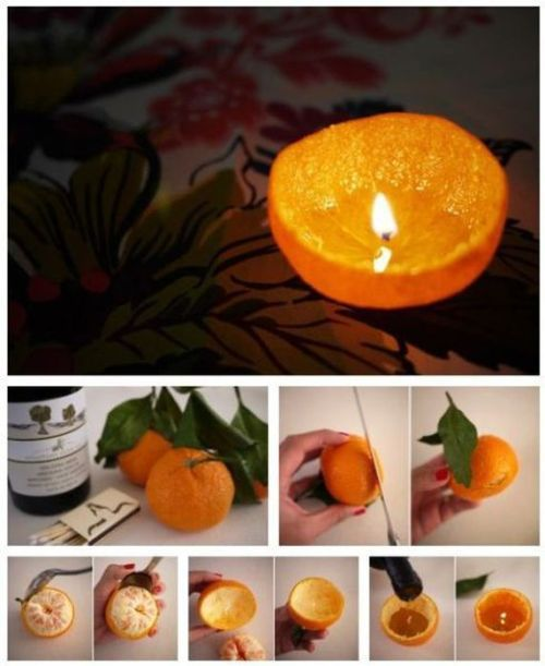 DIY orange candle. Cant wait for this in my apartment!