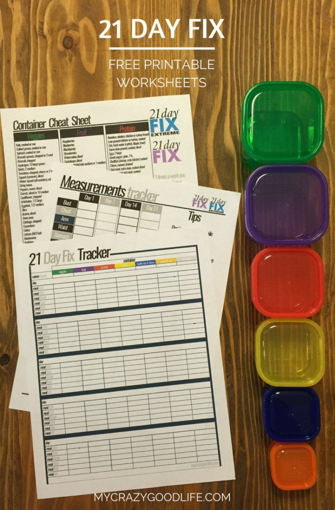 Download and use these free 21 Day Fix printable worksheets to plan your meals, track your measurements, and use a container cheat sheet to carry with you!