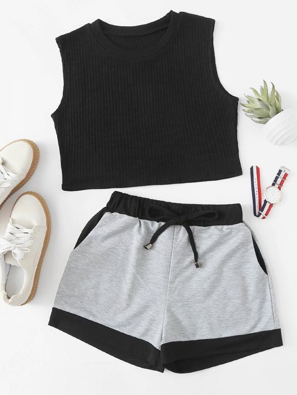 Crop Tank Top & Sweat Shorts Set -SheIn(Sheinside)