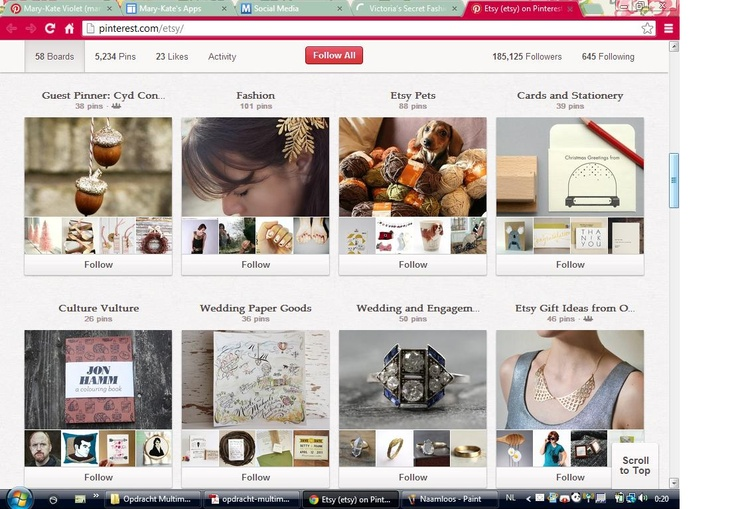pinterest.com/etsy/ Etsy is een website waarop creatievelingen hun zelfgemaakte werken kunnen verkopen. Op Etsy vind je vanalles: van zelfgemaakte nagellak, tot juweeltjes, tot zelfgemaakte stickers en hoesjes voor je iPhone. Op hun Pinterestpagina vind je niet enkel producten die op hun site verkocht worden, maar ook recepten en inspiratie. Zo doen zij aan goede en brede communicatie naar hun bezoekers toe.