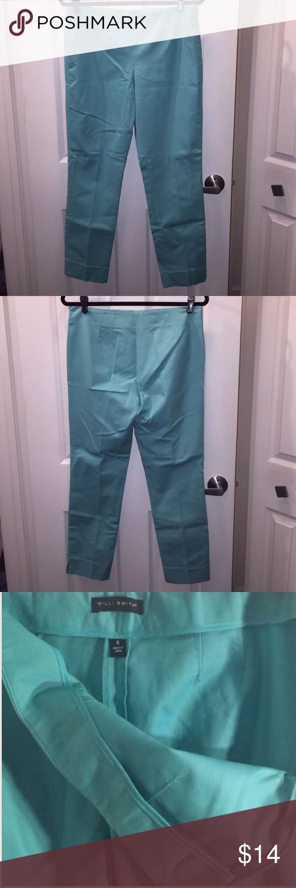 WILLI SMITH Size 8 Teal Pants WILLI SMITH Size 8 Teal Pants.  Measures approximately 27 to 28. Side zip. Slit at bottom ankle. Willi Smith Pants