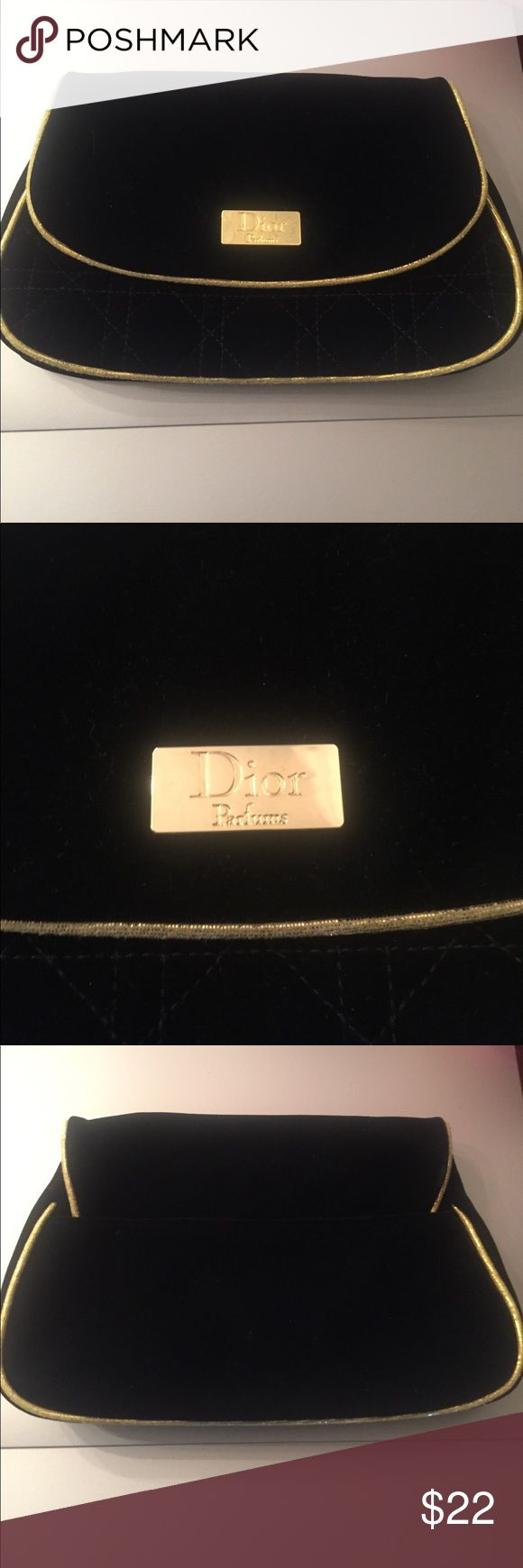 """Dior Parfums velvet makeup bag / clutch-NWOT Never used. In new condition. 8.5""""x6"""". Black Velvet and gold. Dior Bags Cosmetic Bags & Cases"""