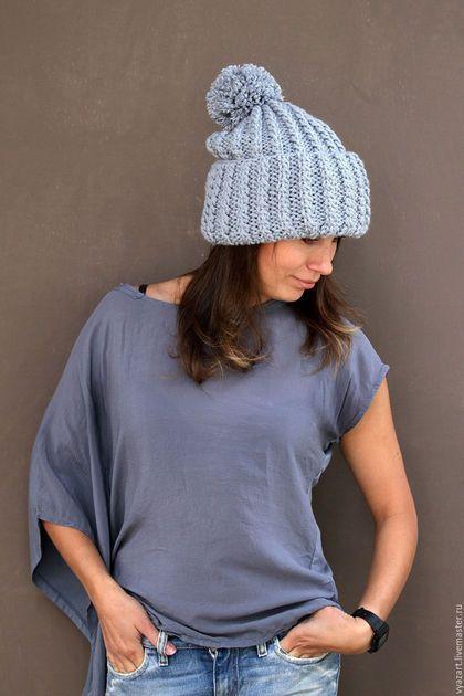 серебристо-серая шапка шапка объемная с отворотом шапка с помпоном объемная новогодний подарок для девушки
