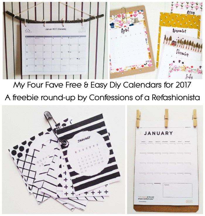 Free & easy DIY calendars for 2017